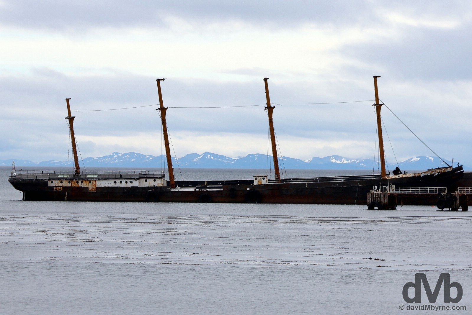 The wreck of the windjammer 'County of Peebles', world's first four-masted, iron-hulled full-rigged ship, now beached as a breakwater in Punta Arenas, Chile. November 10, 2015.