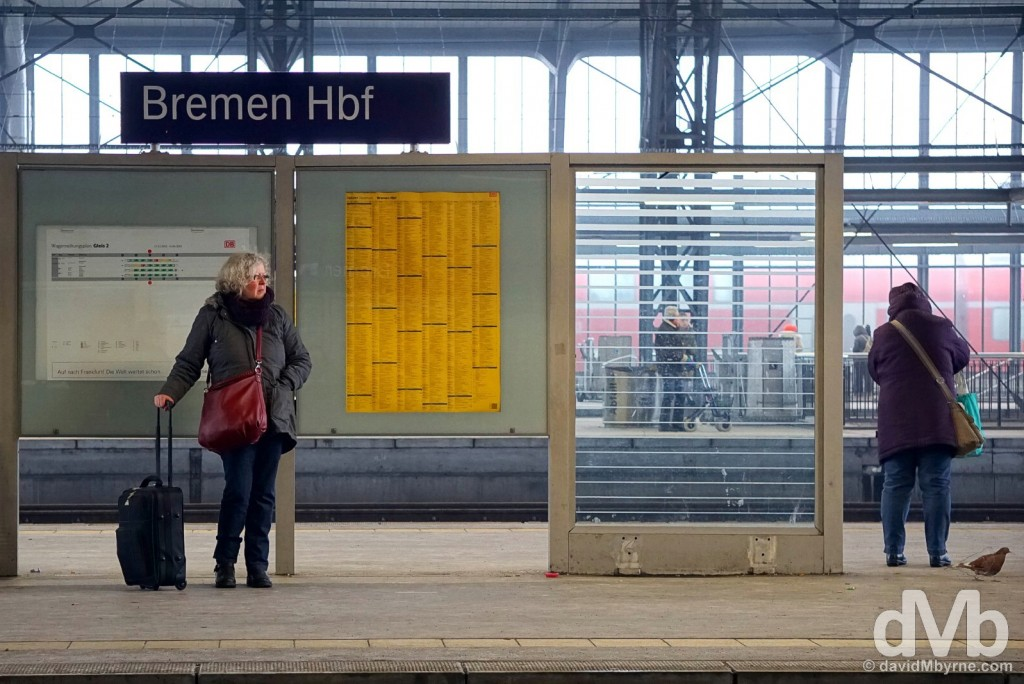 On the platform of Hauptbahnhof in Bremen, Germany. January 20, 2016.