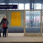 On the platform of Hauptbahnhof in Bremen, Germany. January 20, 2016.