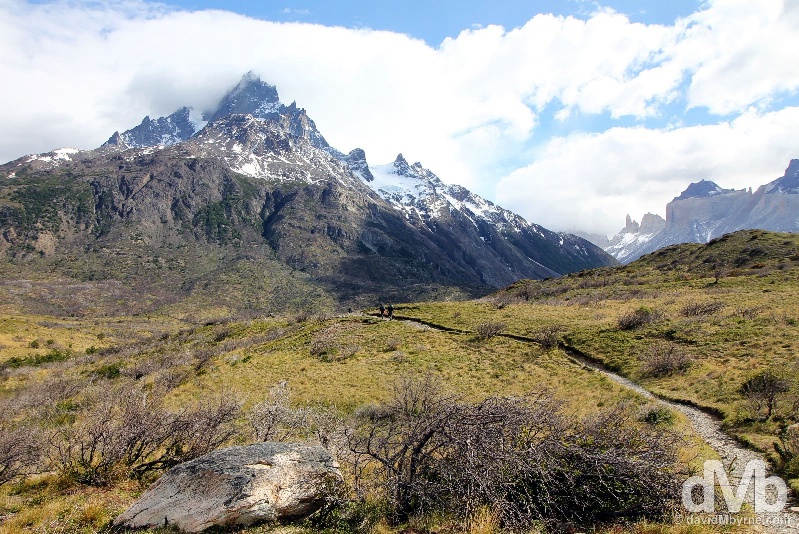On the trail in Torres del Paine National Park, Chile. November 22, 2015.