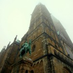 The cathedral, Dom St Petri, overlooking Marketplace in Bremen, Germany. January 21, 2016.