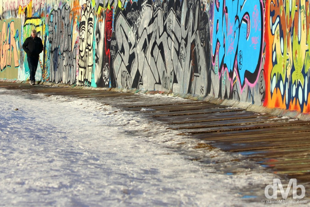 At the East Side Gallery, a.k.a The Berlin Wall, in Berlin, Germany. January 22, 2016.