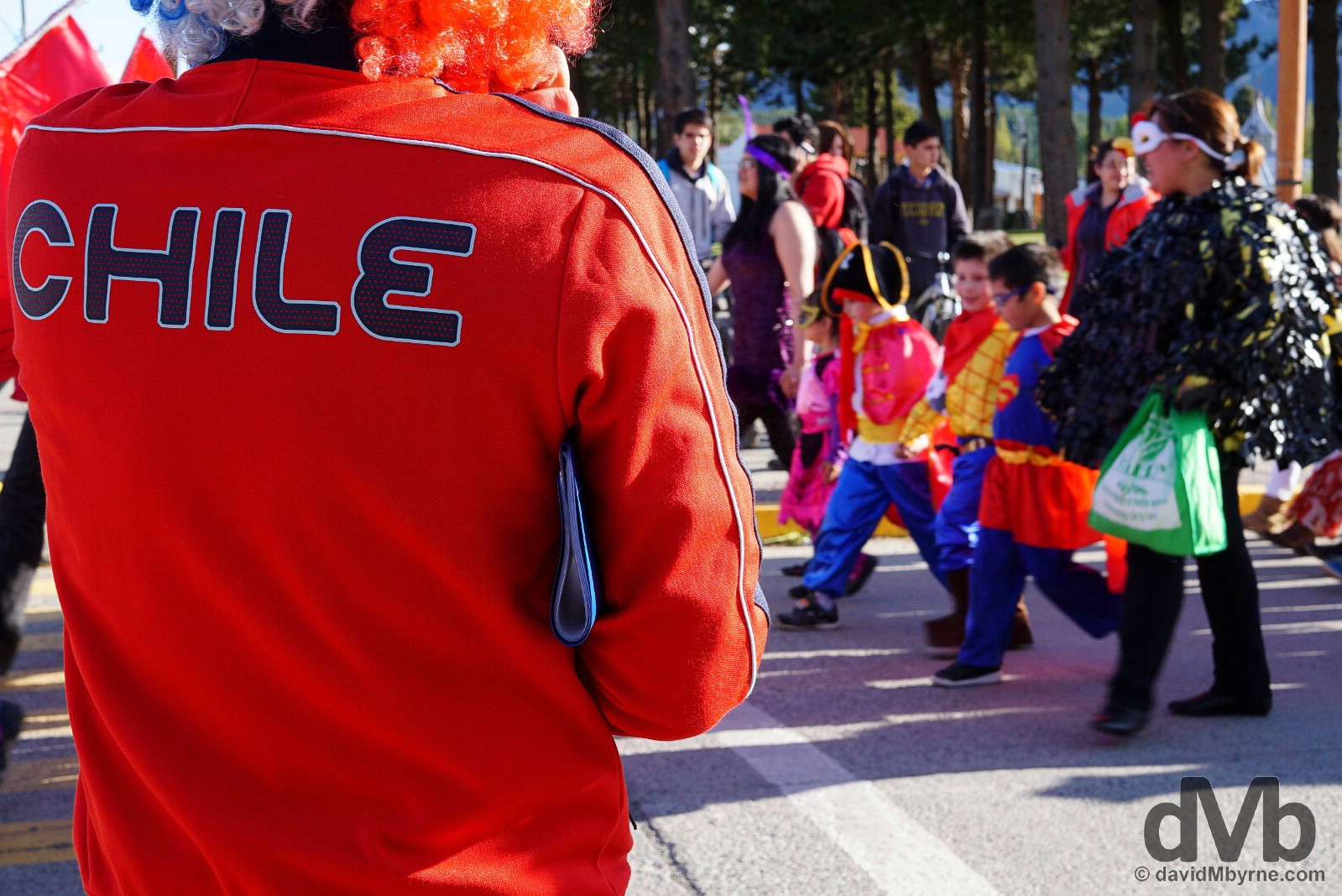 A Halloween parade by Plaza de Armas, Cochrane, Aysen, Chile. October 29, 2015.