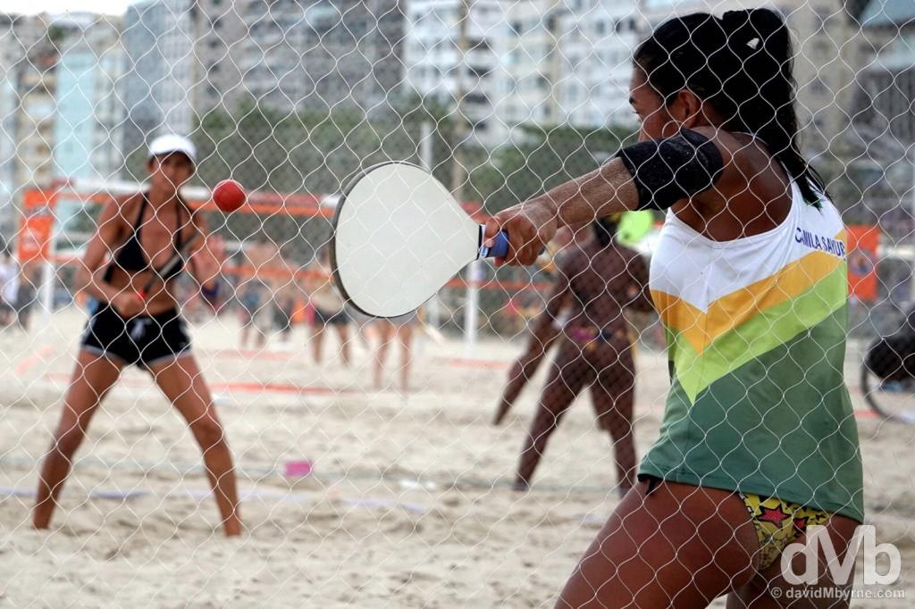 Frescobol practise on Copacabana Beach, Rio de Janeiro, Brazil. December 11, 2015.