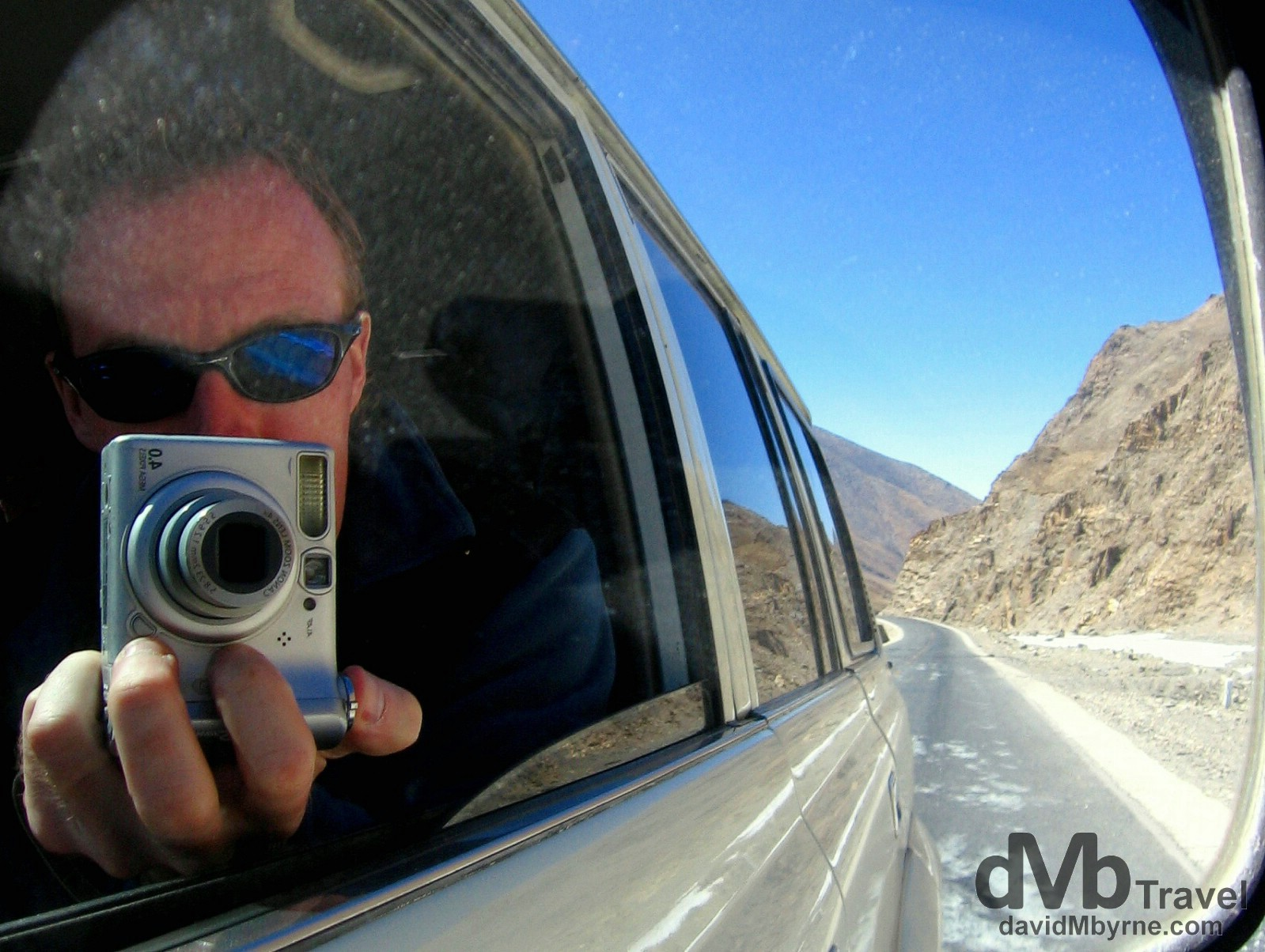 Front seat reflection selfie on the Friendship Highway, Tibet. March 2, 2008.