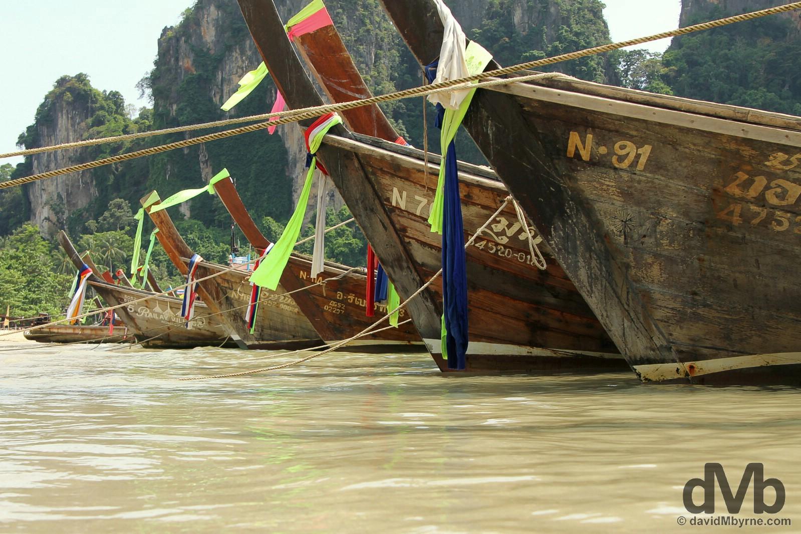 Long-tail boats off Hat Rai Leh West Beach, Krabi, Thailand, Thailand. March 17, 2012.