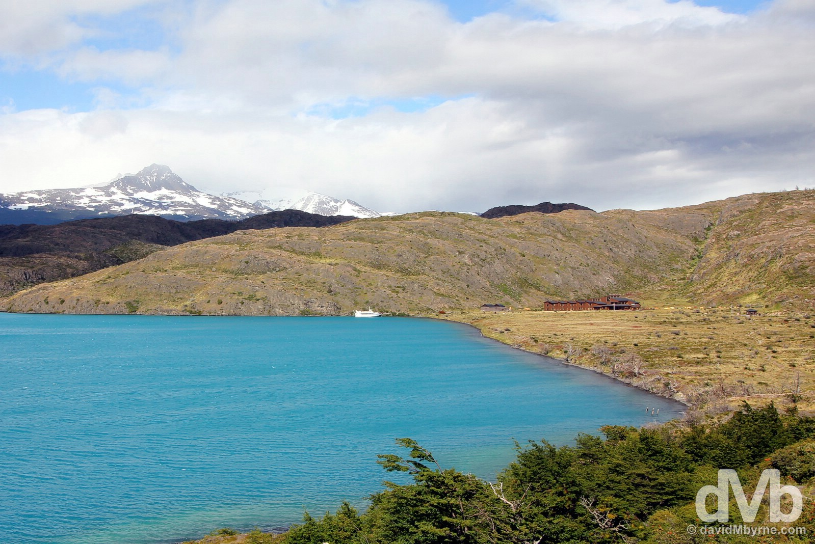 Lago (Lake) Pehoe & Refugio y Campamento Paine Grande in Torres del Paine National Park, Chile. November 22, 2015.