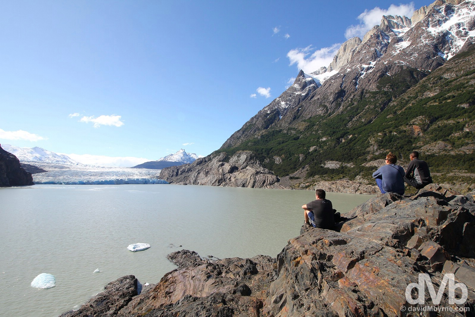 Admiring the terminal face of Glaciar (Glacier) Grey by the edge of Lago (Lake) Grey in Torres del Paine National Park, Chile. November 21, 2015.