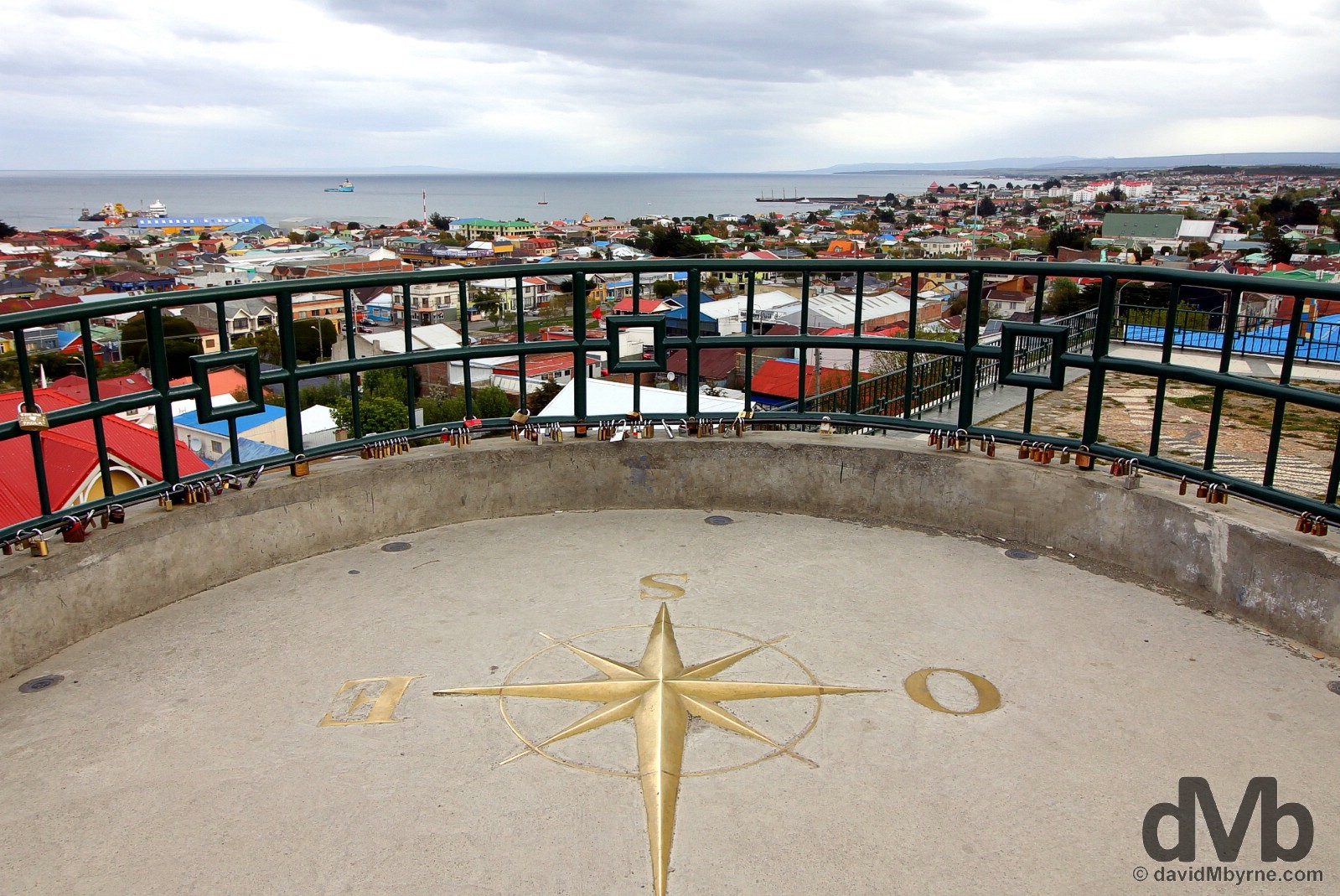 The end. Overlooking the Strait of Magellan from Mirador Cerro La Cruz in Punta Arenas, Chile. November 9, 2015.