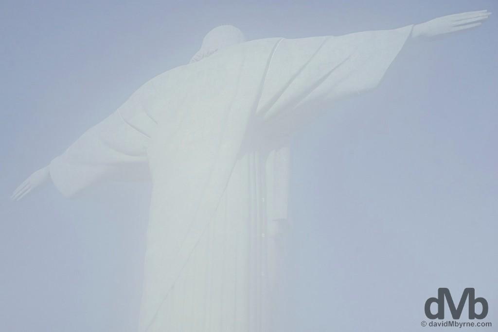Mist envelops Christ the Redeemer, Rio de Janeiro. December 12, 2015.
