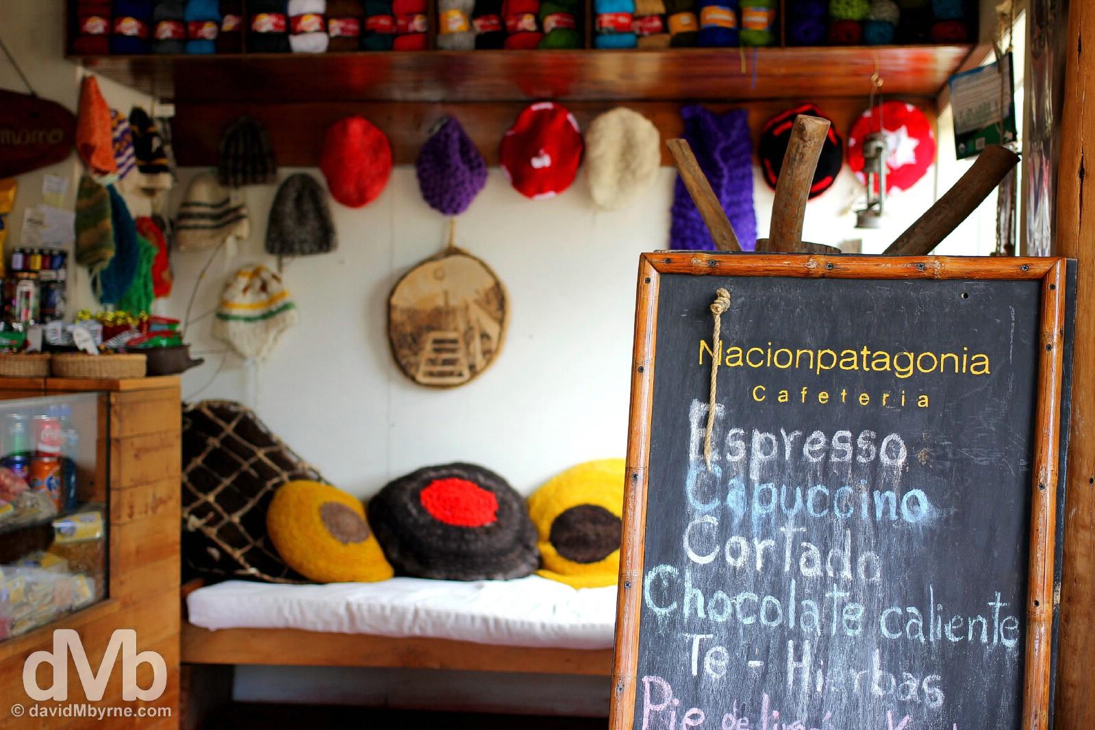 Nacionpatagonia Cafeteria off Plaza de Armas, Cochrane, Aysen, Chile. October 30, 2015.