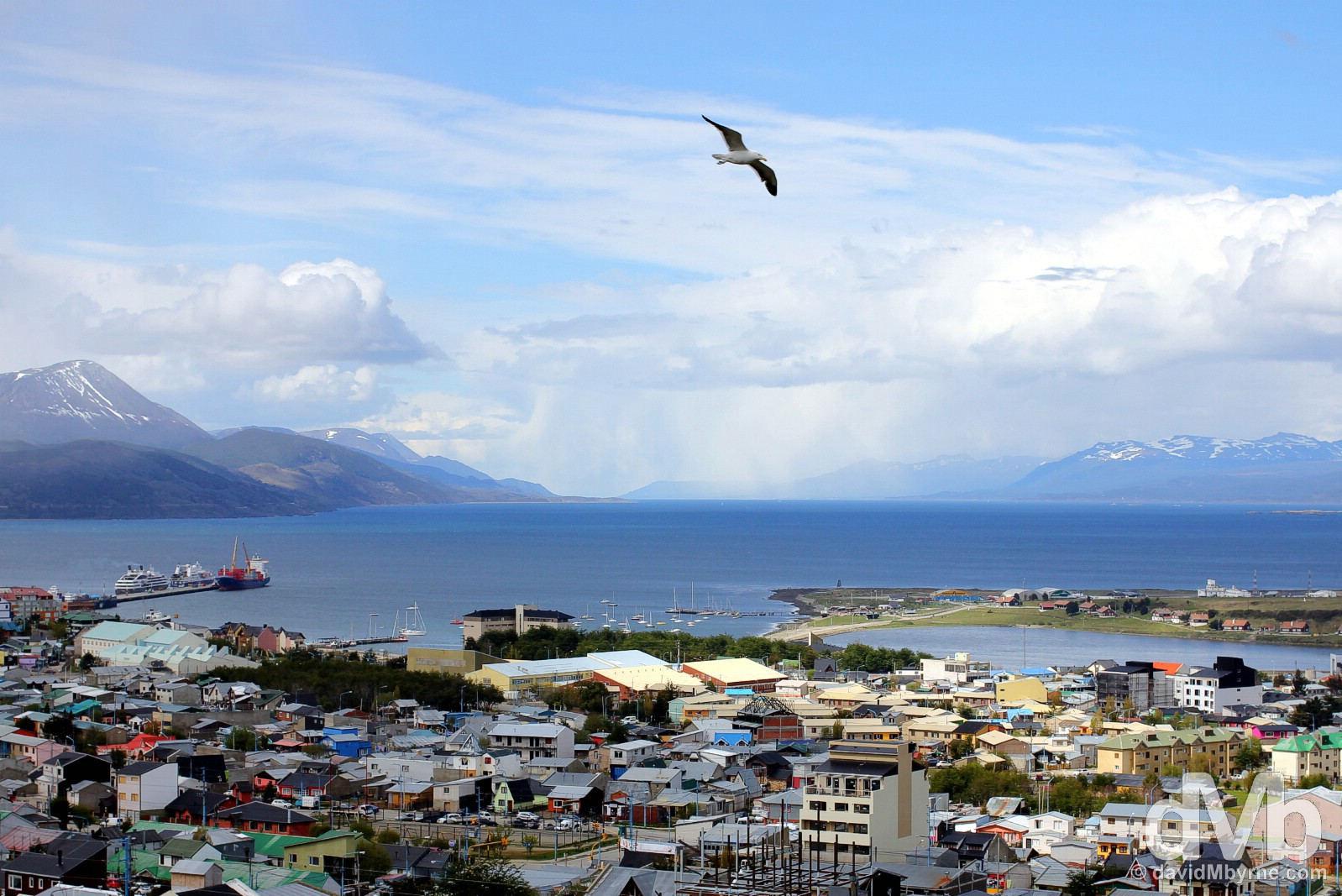 Soaring high over Ushuaia, Tierra del Fuego, Argentina. November 15, 2015.