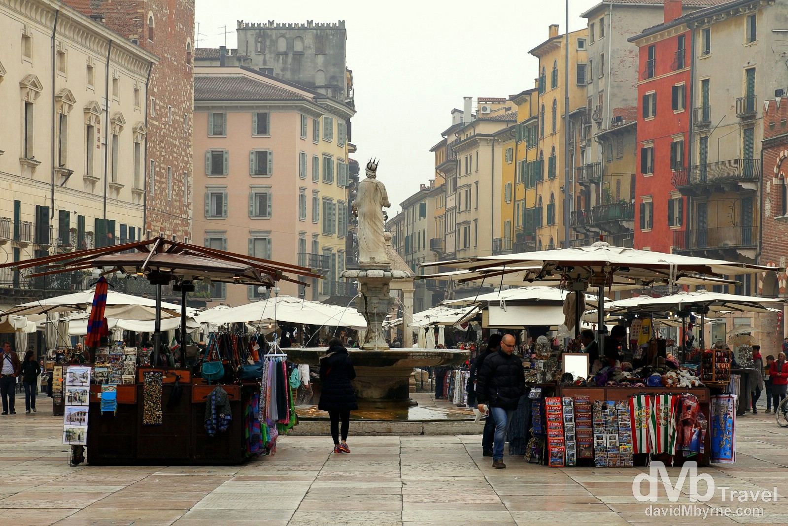 Stalls on Piazza Erbe, Verona, Italy. March 17, 2014.