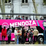 A city tour bus off Plaza Independencia in central Mendoza, Argentina. September 25, 2015.
