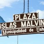 Plaza Islas Malvinas in Ushuaia, Tierra del Fuego, Argentina. November 14, 2015.