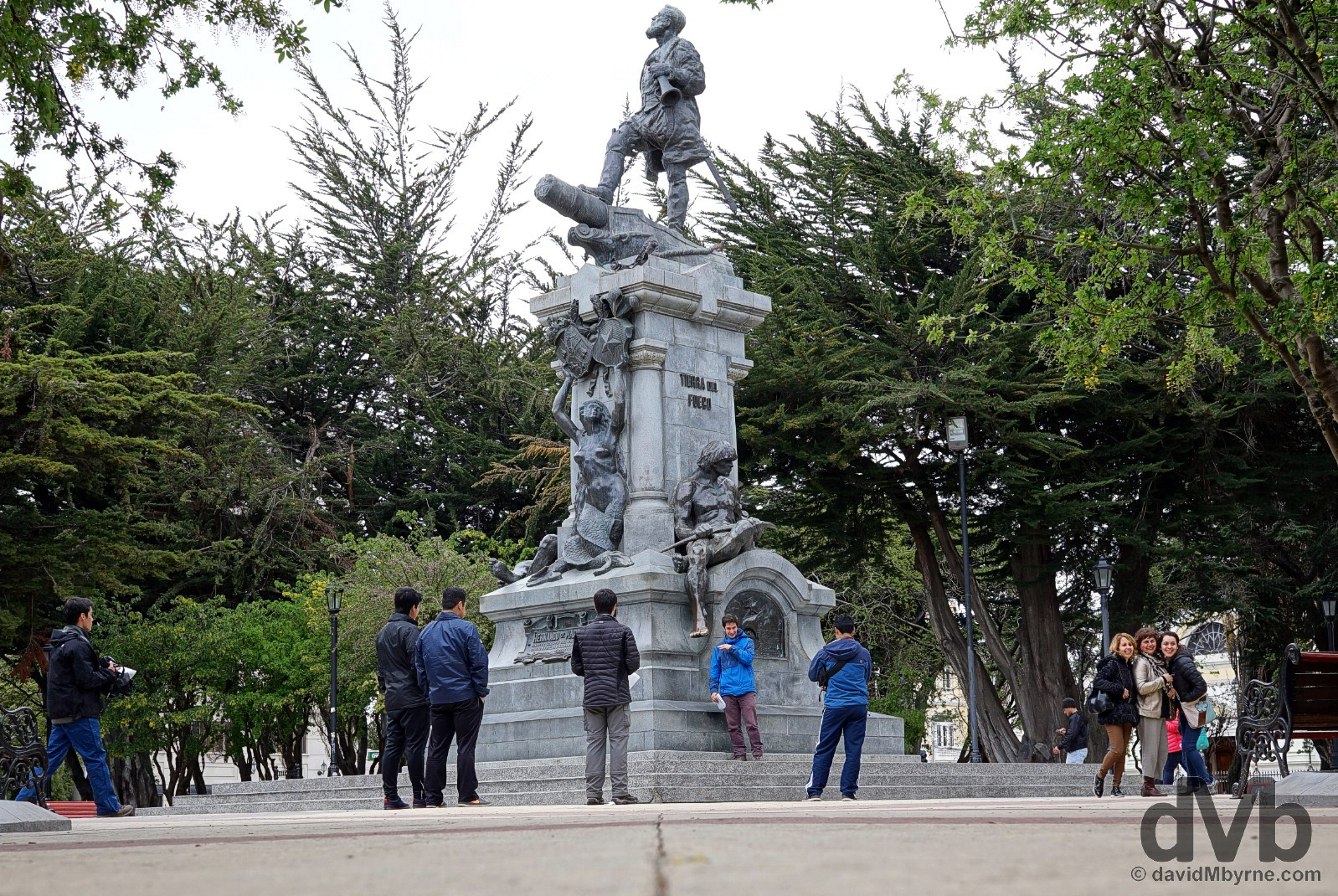The Ferdinand Magellan status in Plaza Munoz Gamero in Punta Arenas, Chile. November 10, 2015.