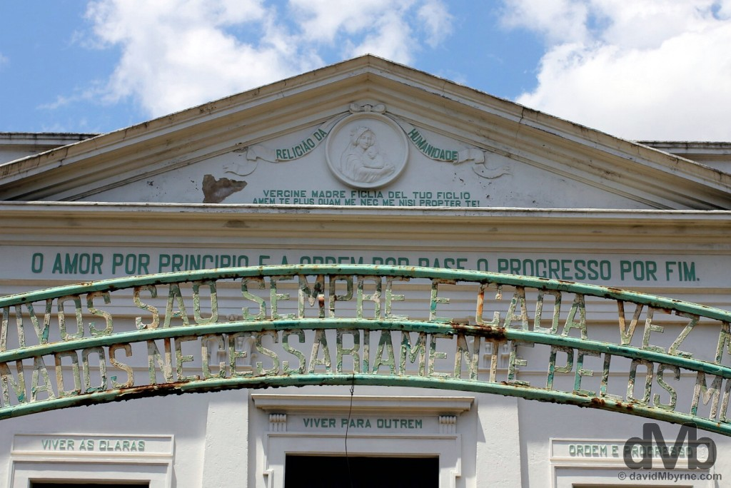 A section of the run-down facade of the Positivist Temple in Porto Alegre, Brazil. December 8, 2015.