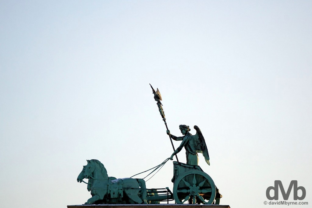 The Quadriga atop the Brandenburger Tor (Brandenberg Gate) in Berlin, Germany. January 21, 2016.