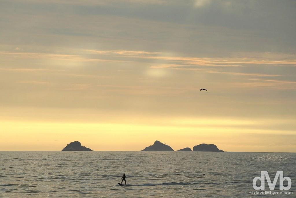Sunset off Ipanema Beach, Rio de Janeiro Brazil. December 11, 2015.