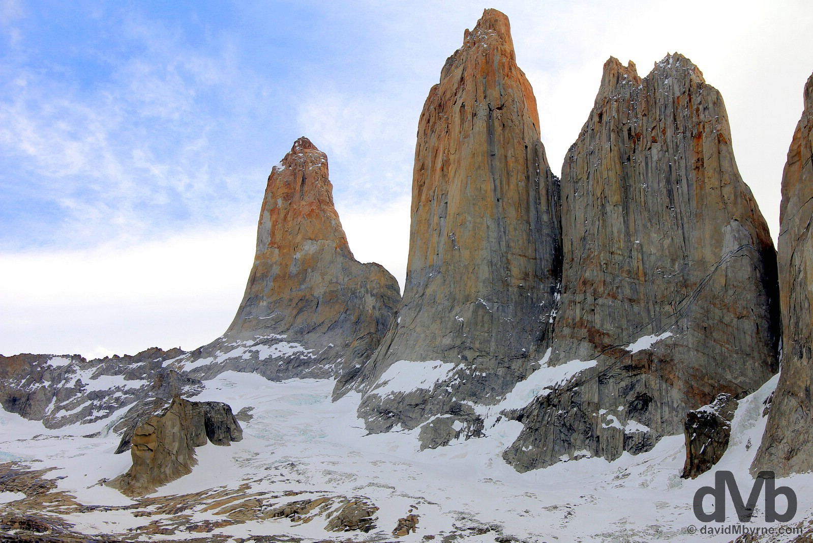 The iconic Torres del Paine, Towers of Paine, in Torres del Paine National Park, Chile. November 23, 2015.