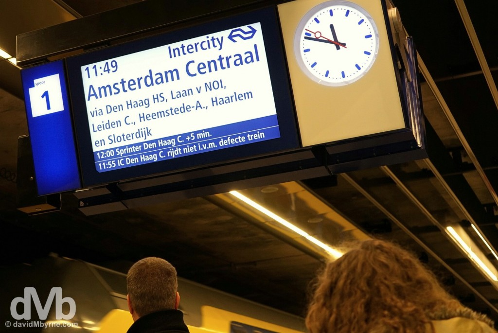 Amsterdam bound. On the platform of the train station in Delft, Netherlands. January 18, 2016.