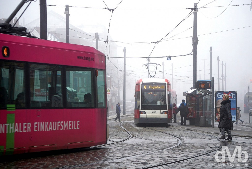 Trams in Bremen, Germany. January 21, 2016.