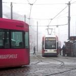 Trams in Bremen, Germany. January 21, 2016.