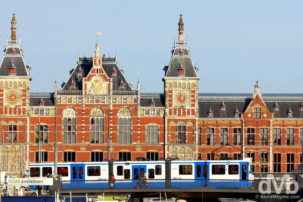 Trams fronting Centraal Station in Amsterdam, Netherlands. January 18, 2016.