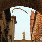 The Whale Bone hanging from Arco della Costa in Verona, Italy. march 17, 2014.