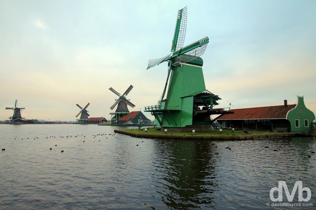 Windmills at Zaanse Schans, Netherlands. January 19, 2016.