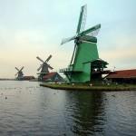 Windmills at Zaanse Schans, Netherlands. January 19, 2016.