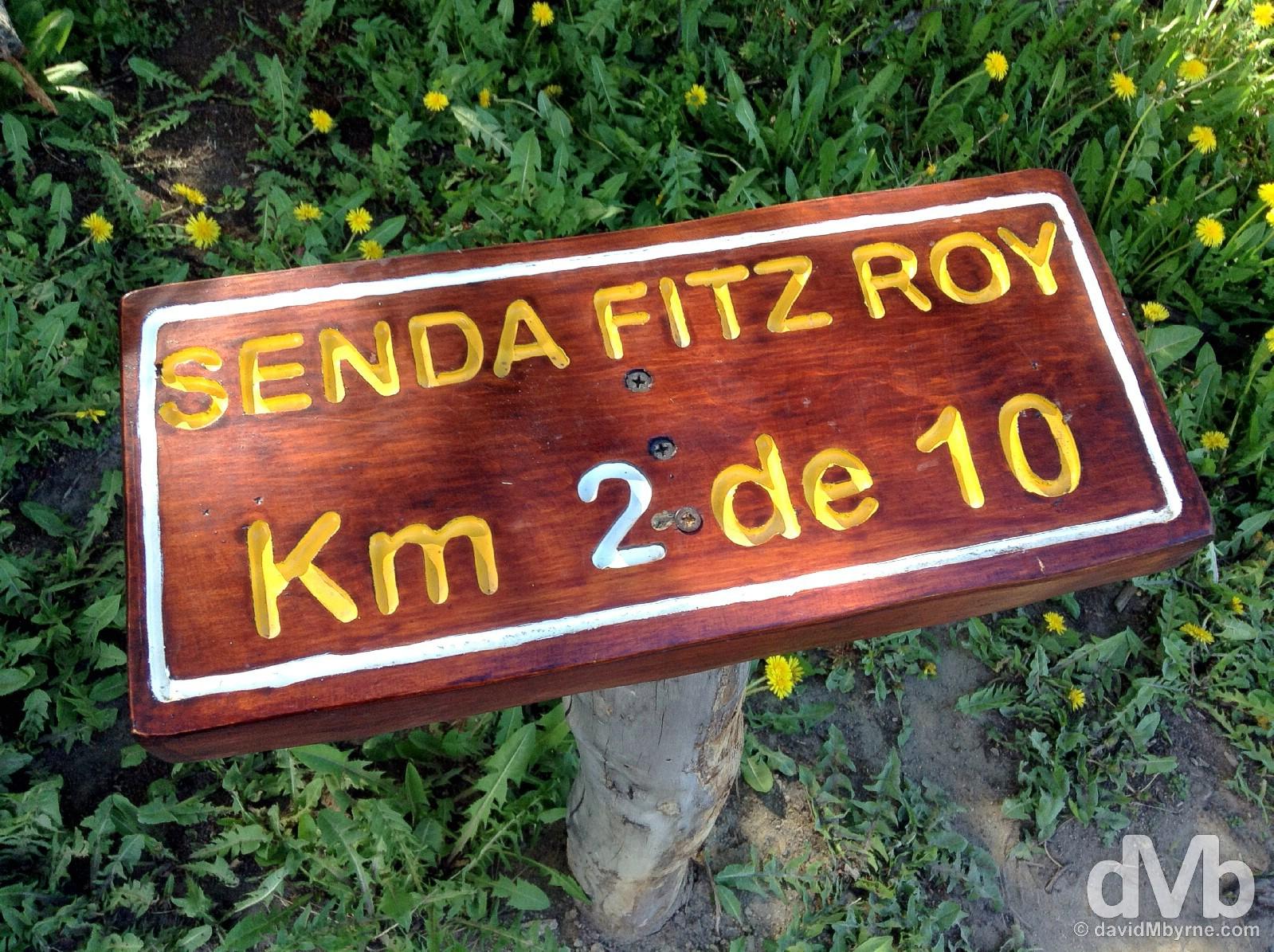 Kilometre markers on the Senda Fitz Roy (Fitz Roy Track) in the Fitz Roy sector of Parque Nacional Los Glaciares, southern Patagonia, Argentina. November 4, 2015.