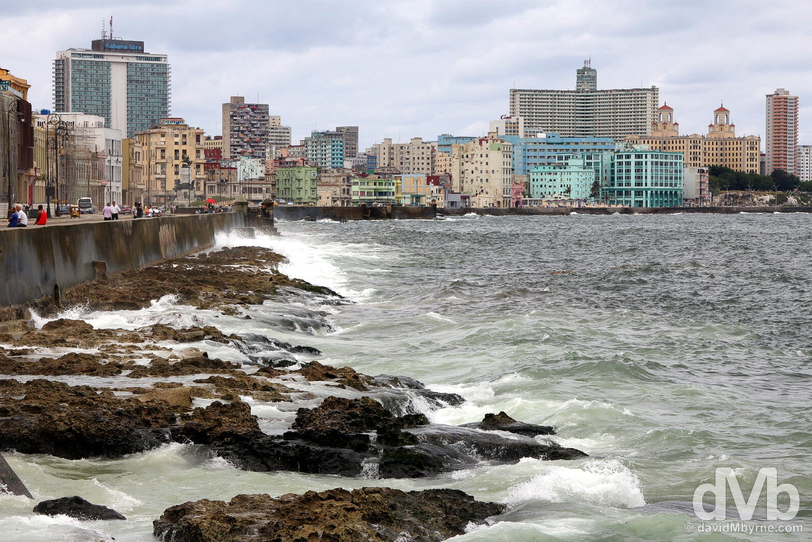 The wave-bashed Malecon in Havana, Cuba. May 1, 2015.