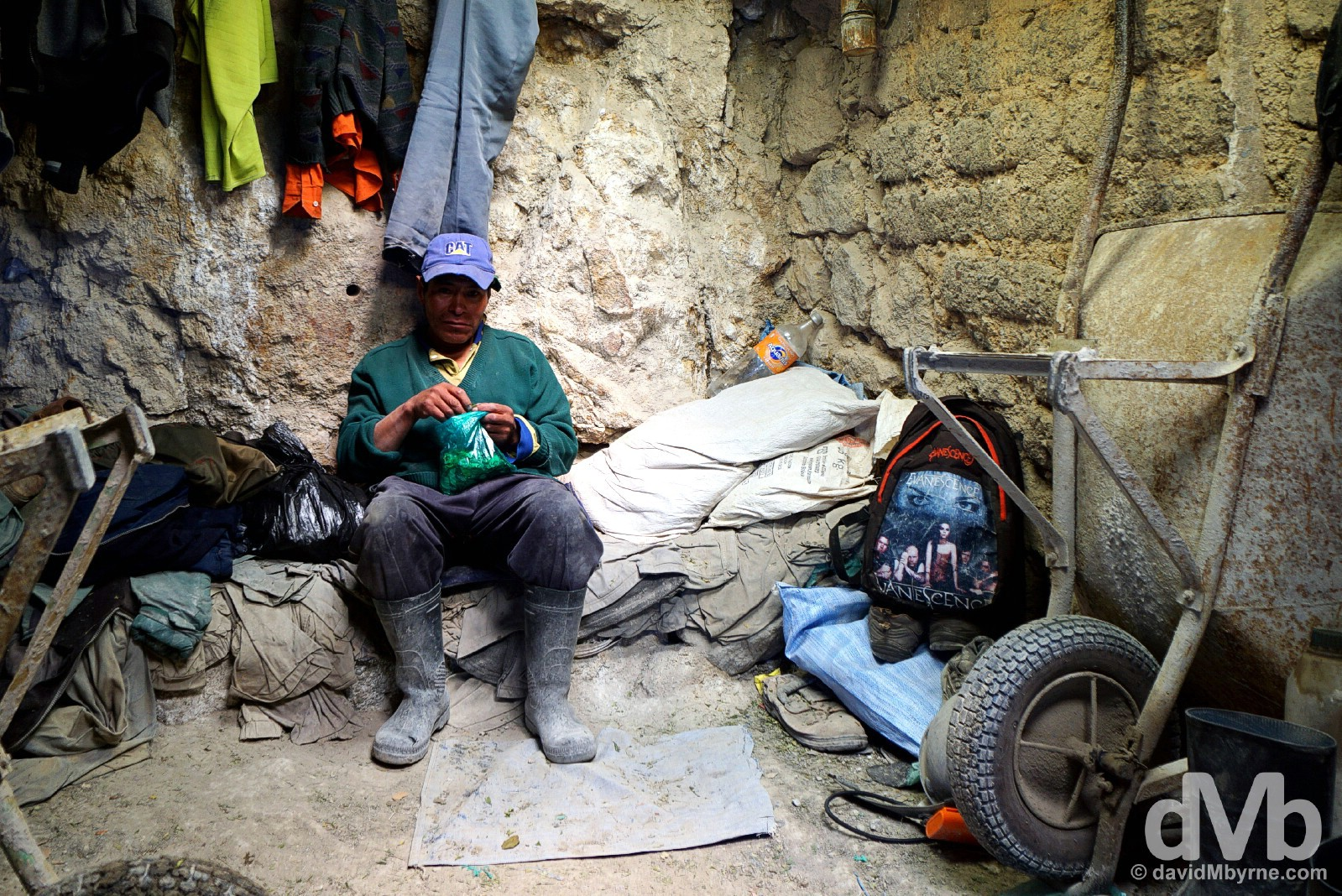 A miner during a break from work in the Cerro Rico Mines, Potosi, Bolivia. September 1, 2015.