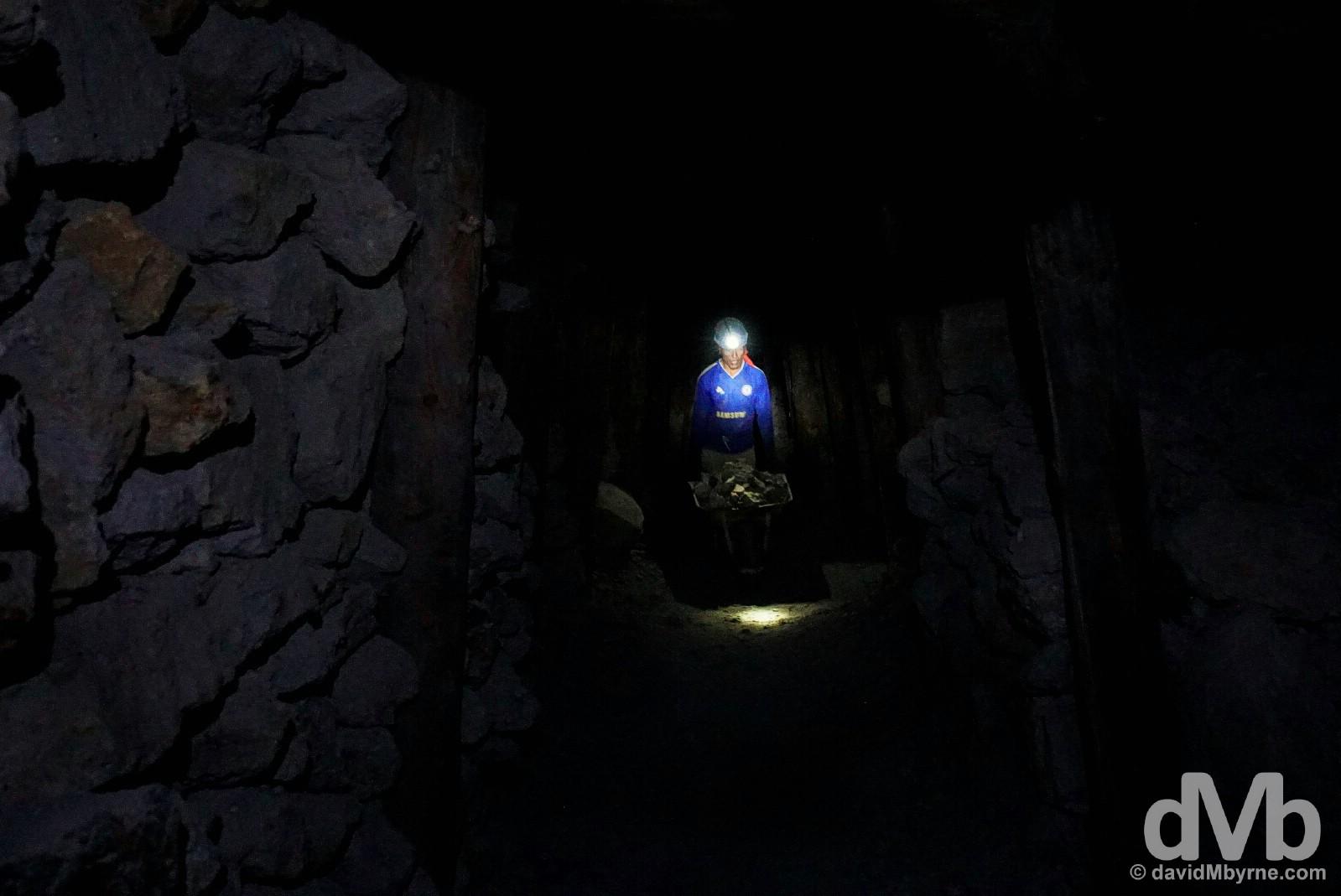 In the deep, dark mineral mines of Cerro Rico, Potosi, Bolivia. September 1, 2015.