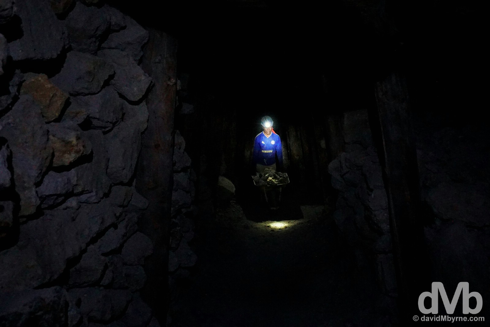 In the deep, dark mineral mines of Cerro Rico, Potosi, Bolivia. September 1, 2015.
