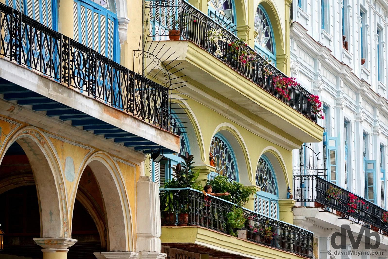Restored buildings overlooking Plaza Vieja in Habana Vieja/Old Havana, Havana, Cuba. April 30, 2015.
