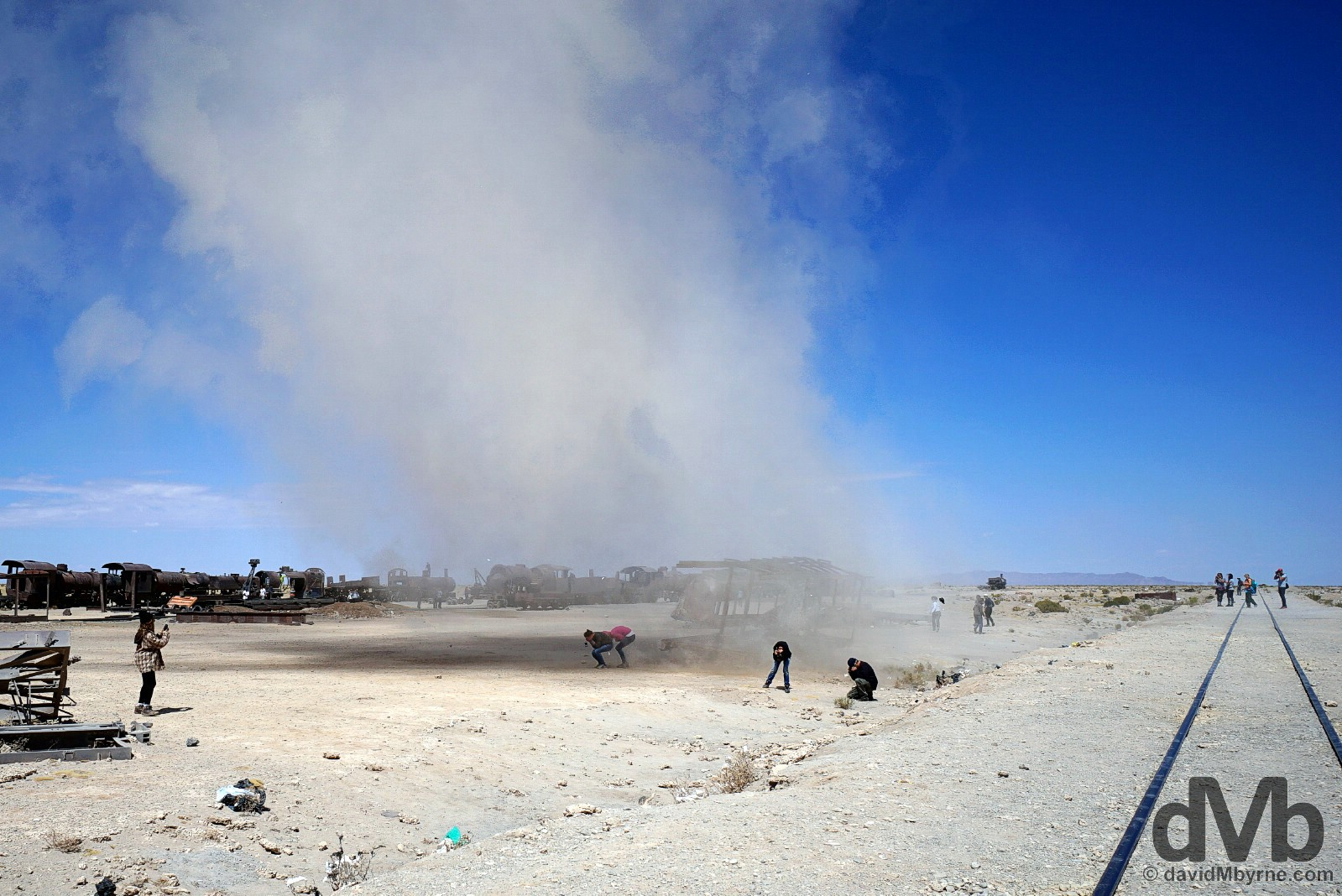 A sand twister at the Train Cemetery on the outskirts of Uyuni, southern Bolivia. September 3, 2015.