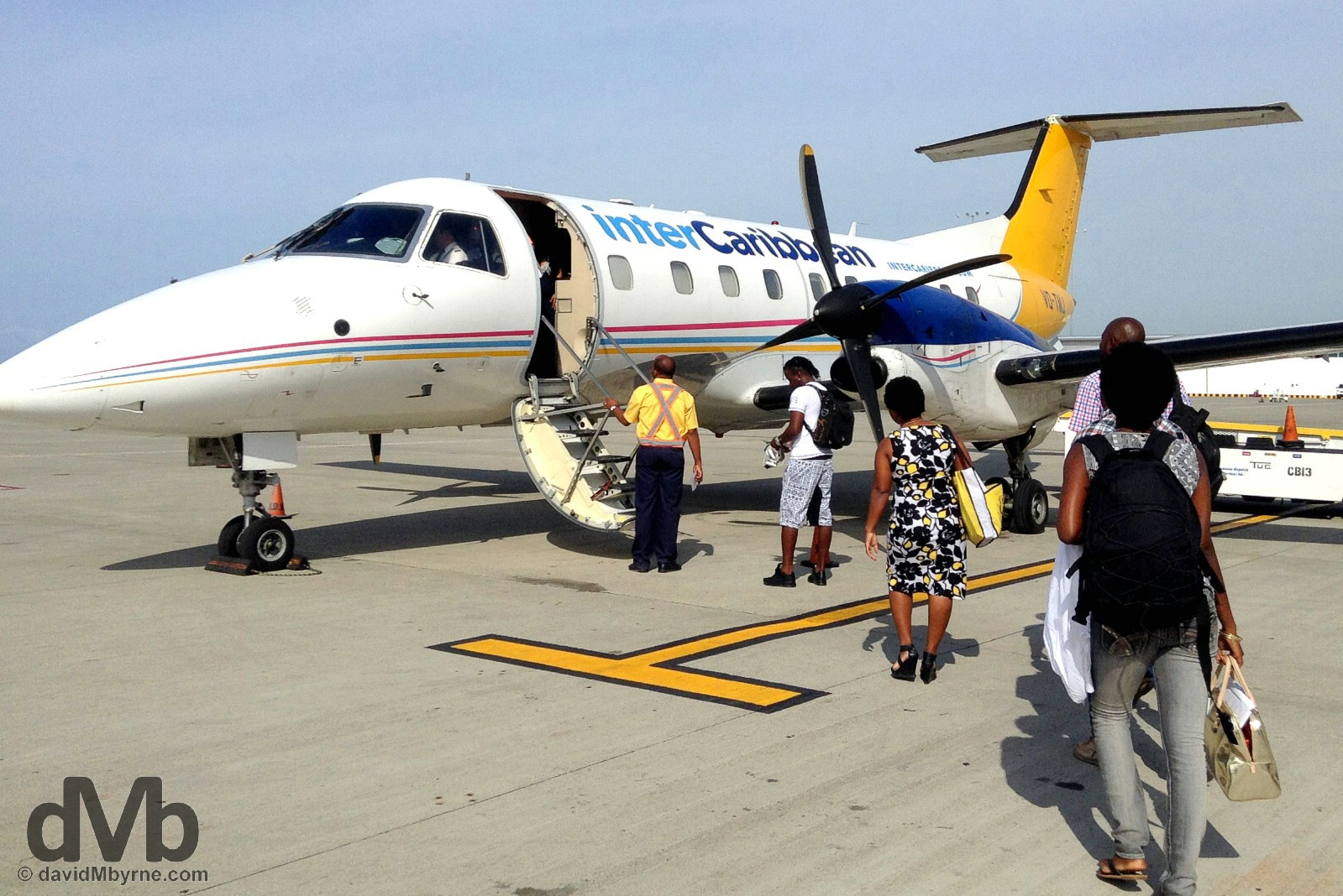 InterCaribbean flight JY623 to Port-Au-Prince, Haiti, on the runway of Norman Manley International Airport, Kingston, Jamaica. May 16, 2015.