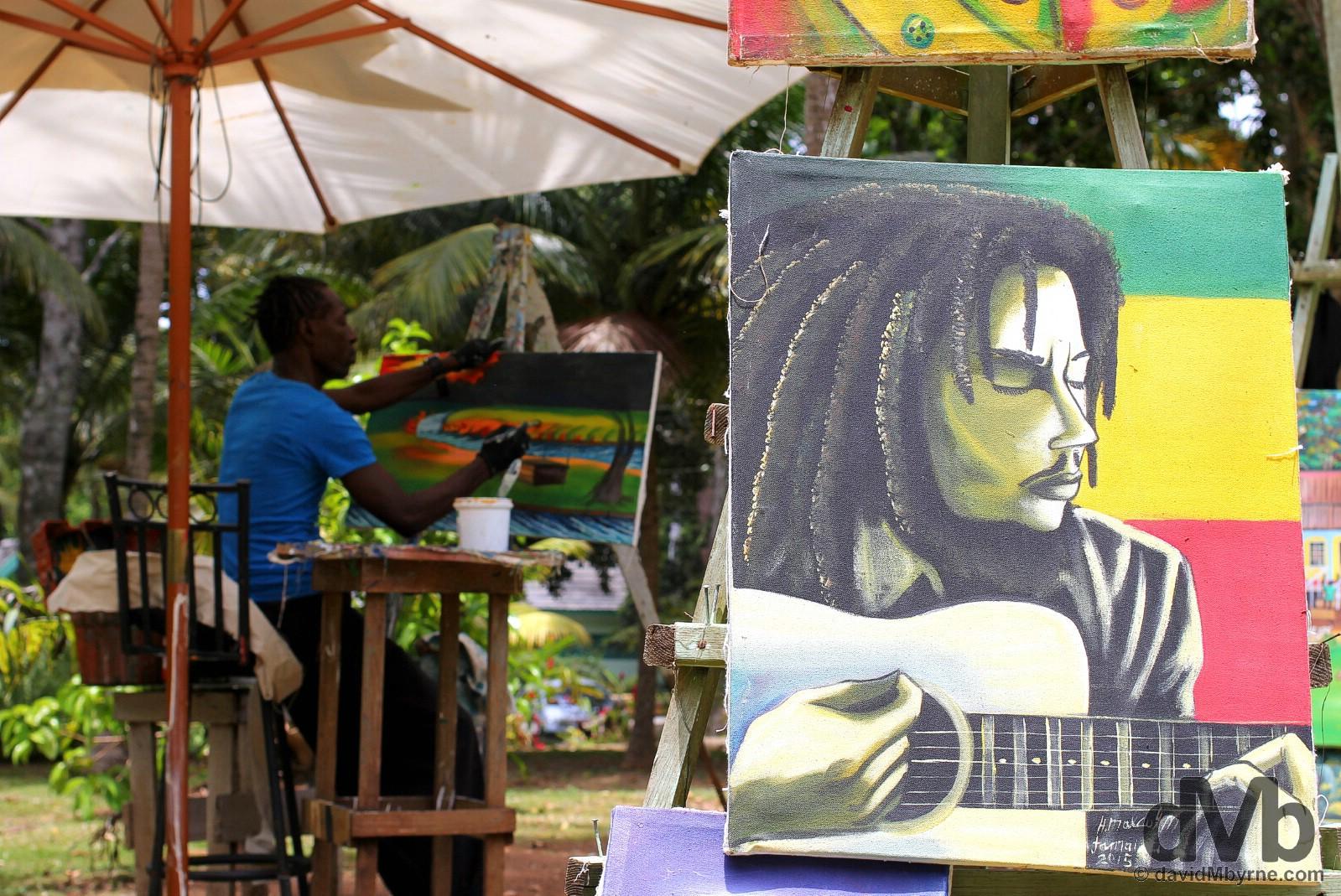 An artist at Dunn's River Falls, Jamaica. May 15, 2015.