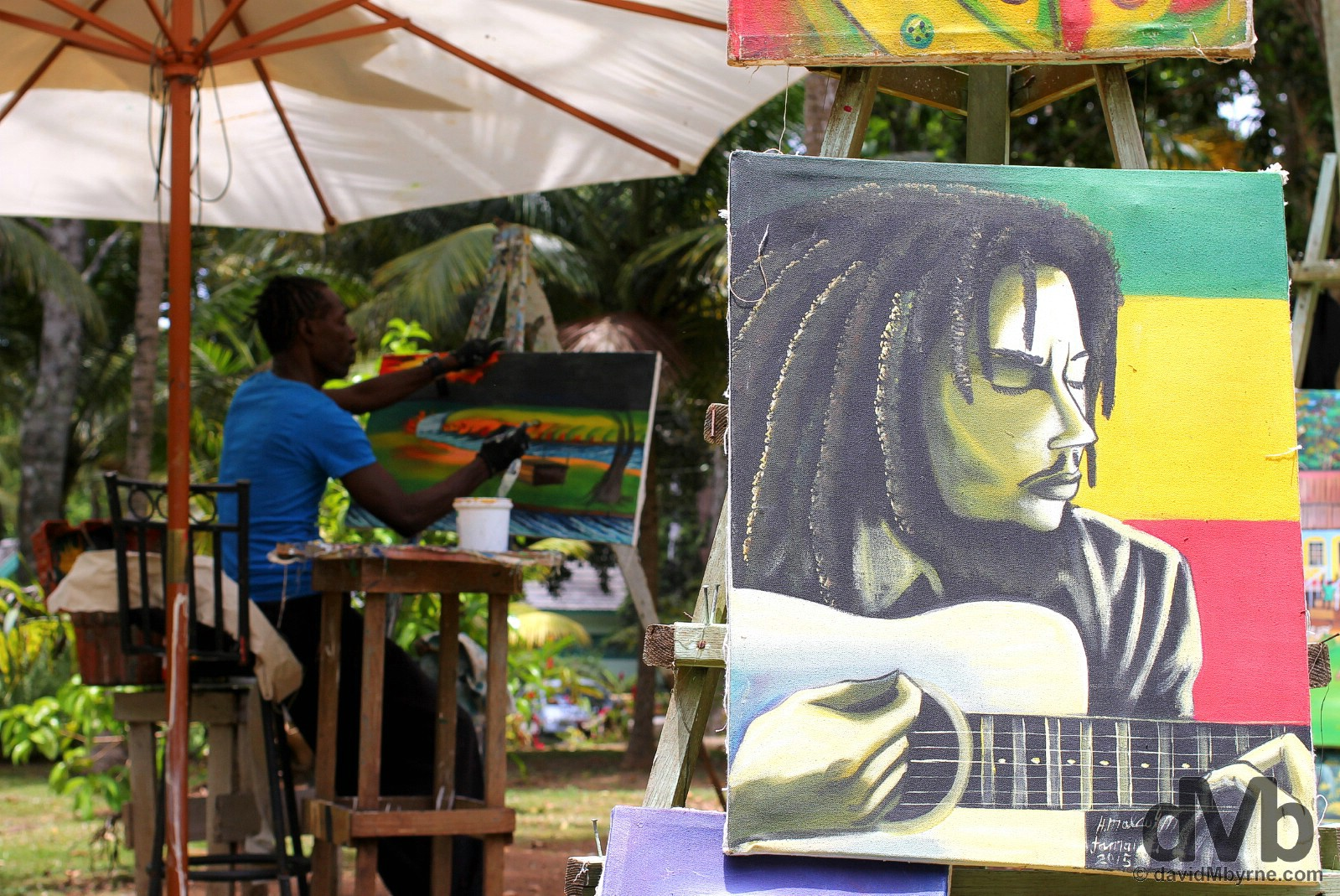 An artist at Dunn's River Falls, Jamaica. May 15, 2015.