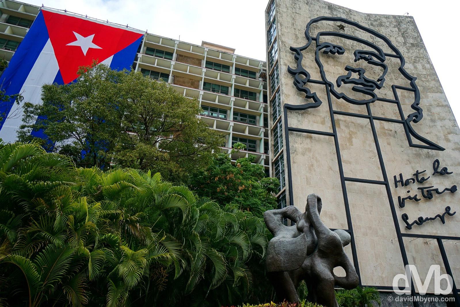 The iconic Che Guevara mural on the Ministerio del Interior building off Plaza de la Revolucion/Revolution Square in Vedado, Havana, Cuba. May 1, 2015.