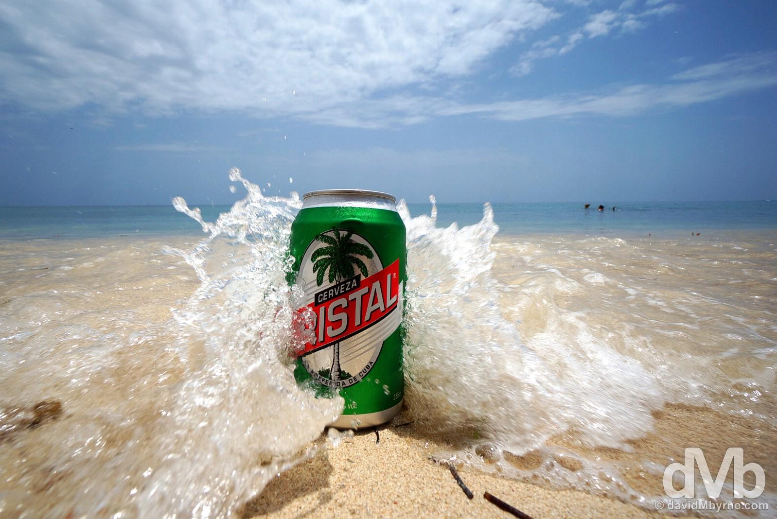 Cristal beer. Playa Ancon, Cuba. May 6, 2015.