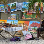 For sale on the beachfront promenade in Jacmel, southern Haiti, Hispaniola, Greater Antilles. May 19, 2015.
