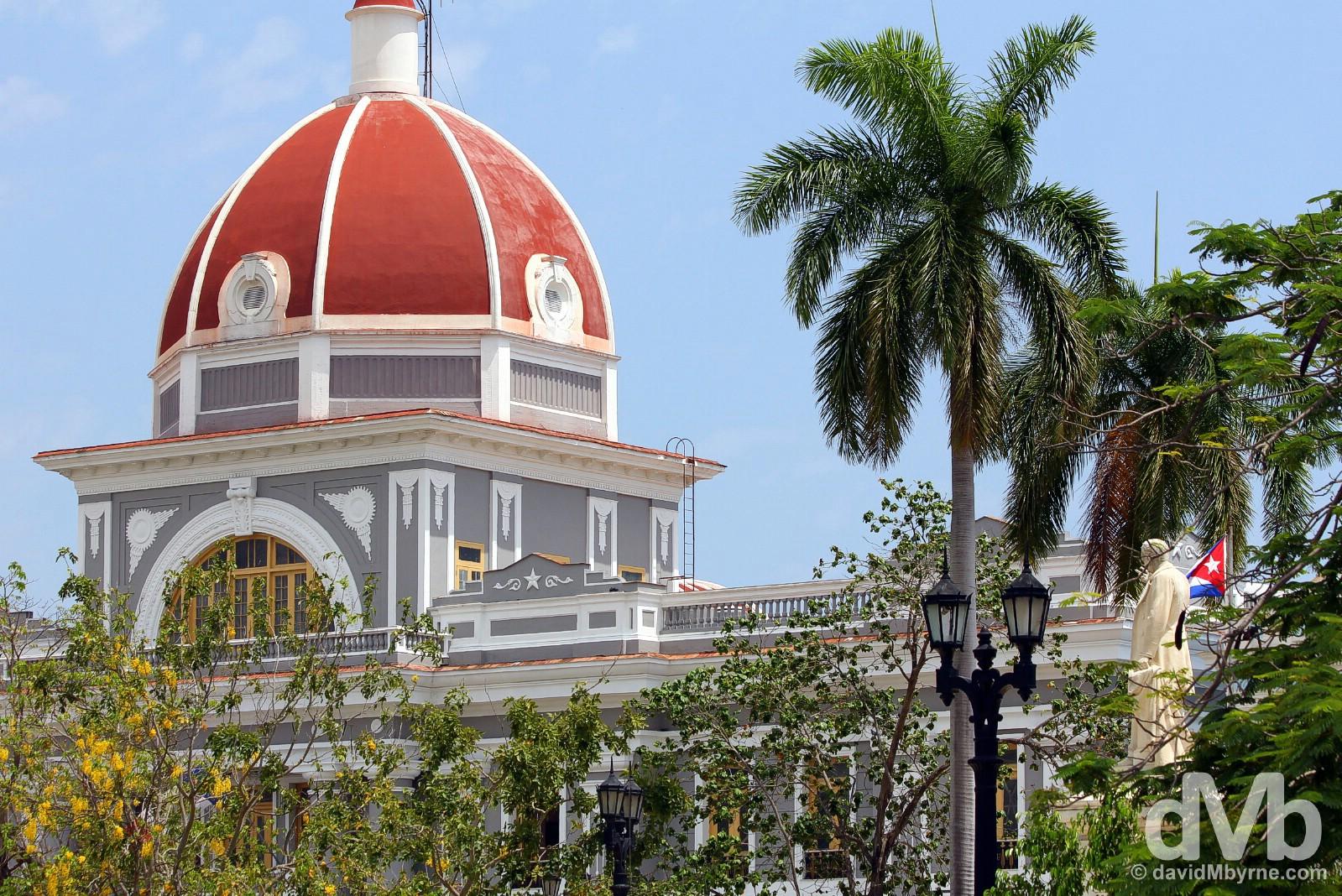 The central cupola of the Palacio de Gobierno as seen from Parque Jose Marti in Cienfuegos, Cuba. May 8, 2015.