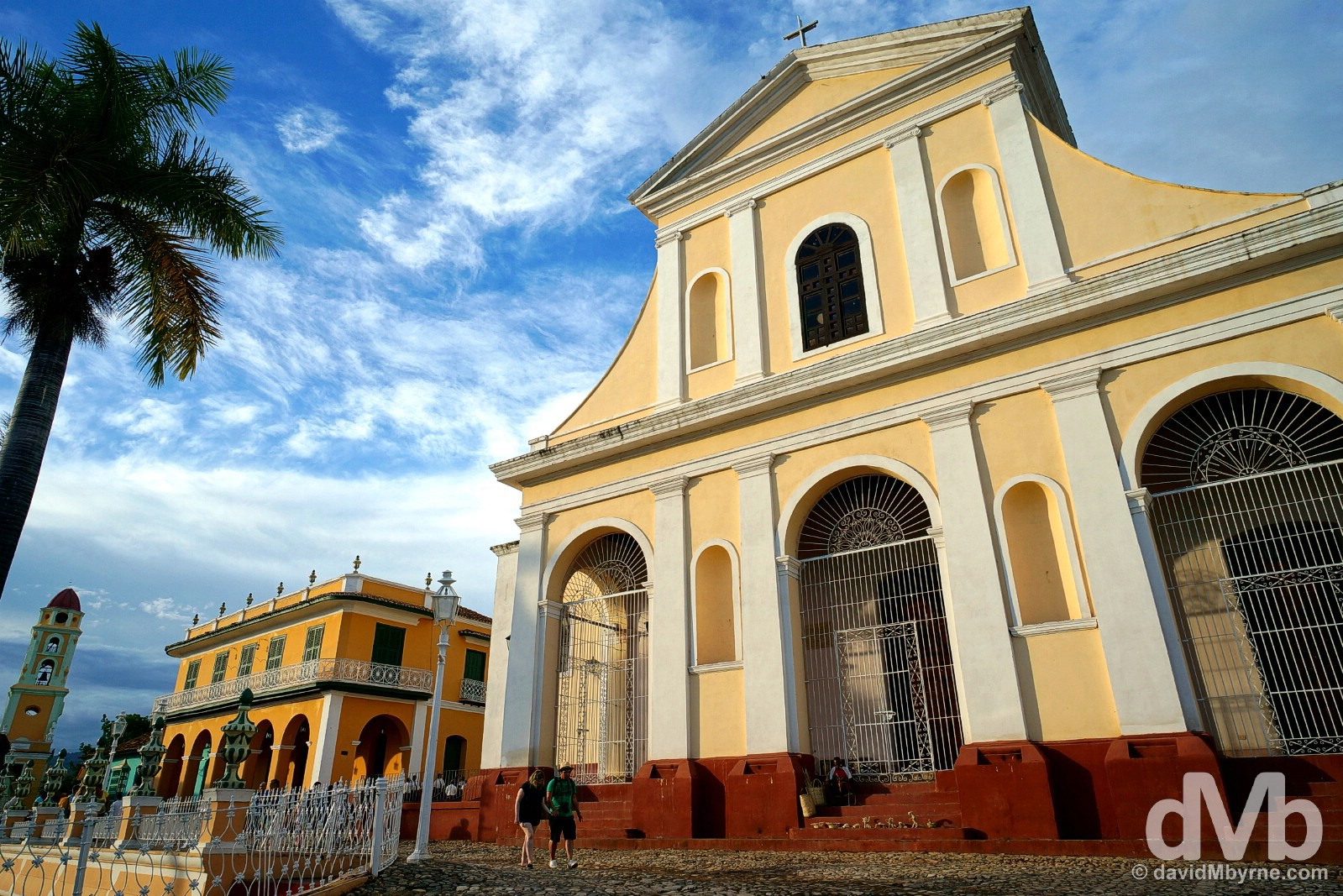 The facade of the Iglesia Parroquial de la Santisima Trinidad overlooking Plaza Mayor in Trinidad, Cuba. May 5, 2015.