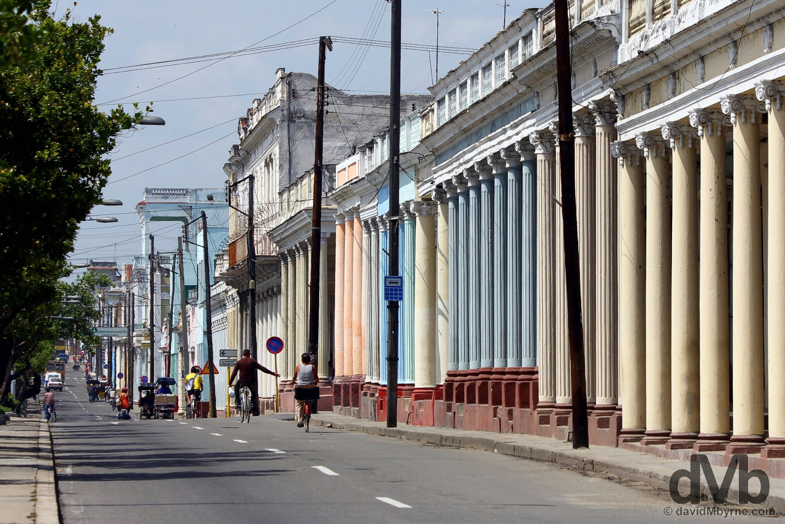 A section of the colonnaded Paseo del Prado in Cienfuegos, Cuba. May 8, 2015.
