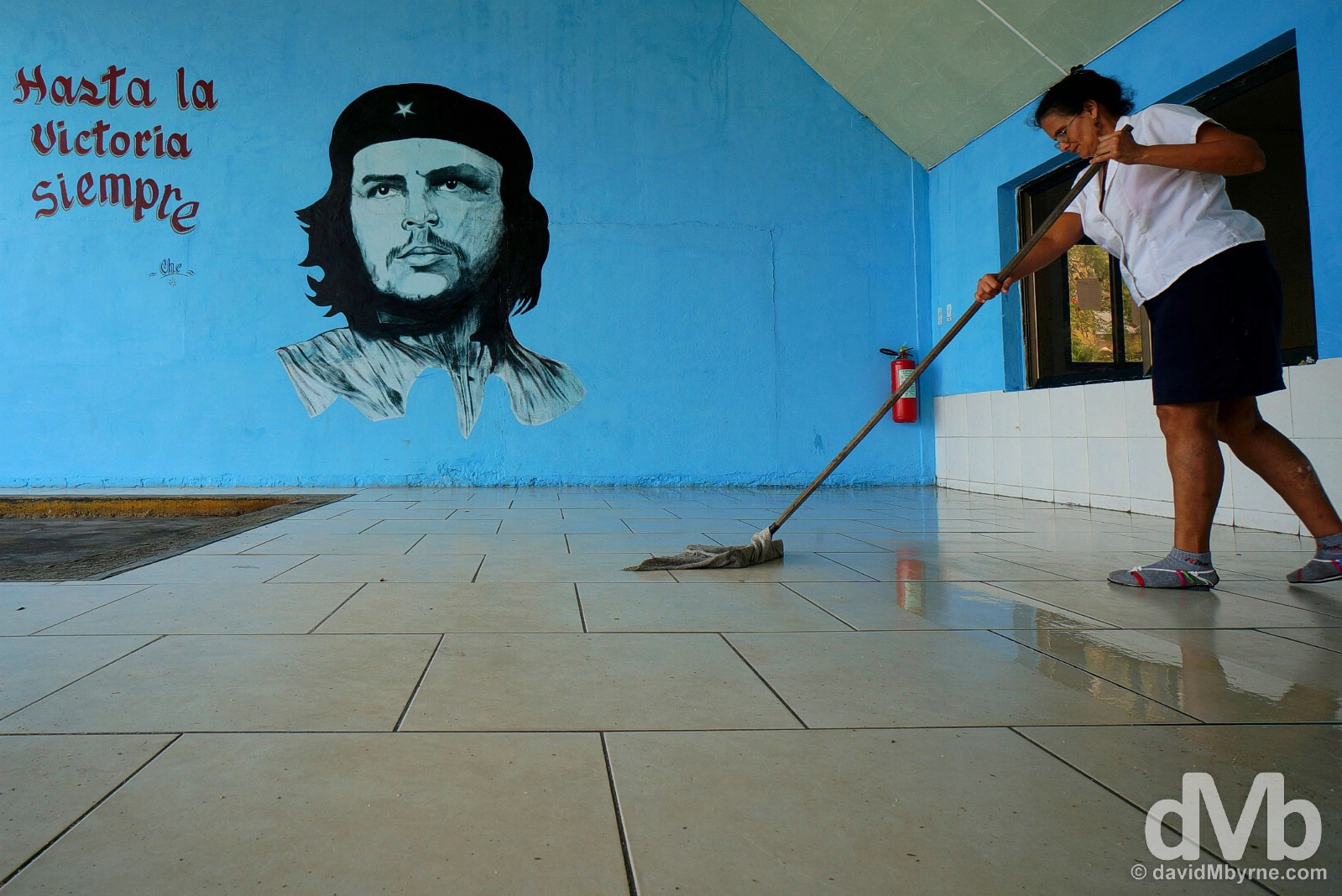 Mopping the floor of the bus station in Santa Clara, Cuba. May 3, 2015.