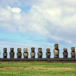 Sunshine illuminates the impressive moai lineup of Ahu Tongariki on Easter Island, Chile. September 29, 2015.