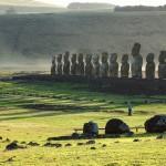 Post sunrise shadows at Ahu Tongariki on Easter Island, Chile. October 3, 2015.